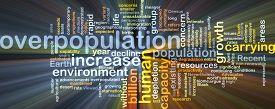 stock photo of overpopulation  - Background concept wordcloud illustration of overpopulation glowing light - JPG