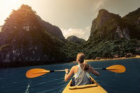 picture of kayak  - Lady exploring Ha Long Bay  - JPG