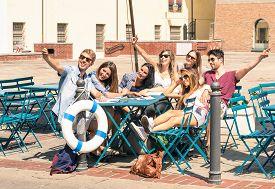 image of  friends forever  - Group of happy best friends taking a selfie  - JPG