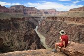 Man On Grand Canyon Overlook