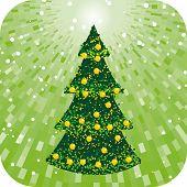 Árbol de Navidad verde abstracto con el brillo de fondo