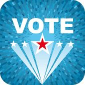 Vector Election blue background with vote text and stars