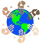 ethnic colored hand prints working globally as a team