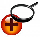 magnifying glass over plus button - zoom in icon