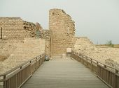 Entrance To Historical Place Or Ruins In Caesarea poster