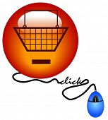 shopping basket with minus sign connected to computer mouse - remove from cart