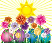 foto of easter-eggs  - Vector illstration of a Spring Day with Sunshine and Easter Egg Garden with grass - JPG