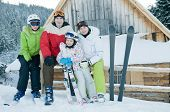 Sporty family on winter vacation