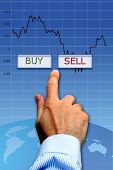 stock broker hand between a buy and sell button