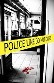 stock photo of crime scene  - police crime scene with yellow boundary tape - JPG
