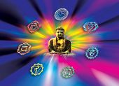 buddha with symbols of chakra over rainbow whirl