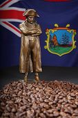 stock photo of bonaparte  - Napoleon Bonaparte brass statue standing in a sea of coffee beans from St Helena - JPG