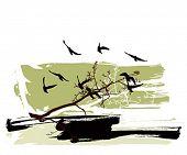 Siluetas de árboles y pájaros volando sobre un fondo grunge
