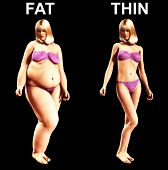 stock photo of flabby  - An image of a women who has gone from being fat to thin a useful image about weight loss - JPG