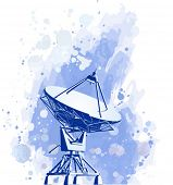 satellite dishes antenna (doppler radar). watercolor background