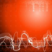 Sound wave, red technology background