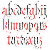 Alfabeto gótico del bosquejo