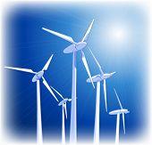 Generadores eólicos & cielo azul