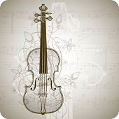 violin, music sheets & vintage floral ornament