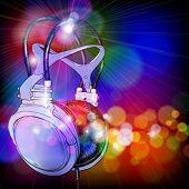 Headphones on color background. Vector illustration - eps10