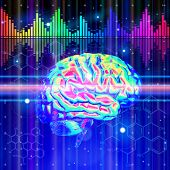 brain, chemical formulas, color digital wave & radial design lights - technology background