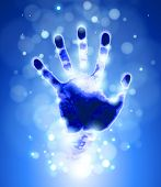 handprint & azul bokeh luz abstrato. Vector illustration / eps10