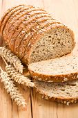 picture of whole-wheat  - whole wheat bread on kitchen table - JPG
