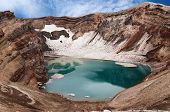 Acid lake in volcanic crater