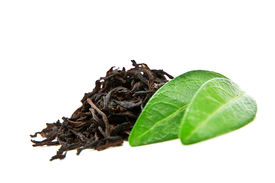 picture of black tea  - black tea with leaf isolated on white background - JPG