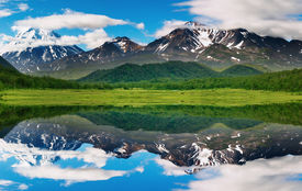 pic of mountain-range  - Landscape with mountain and blue sky reflected in water - JPG