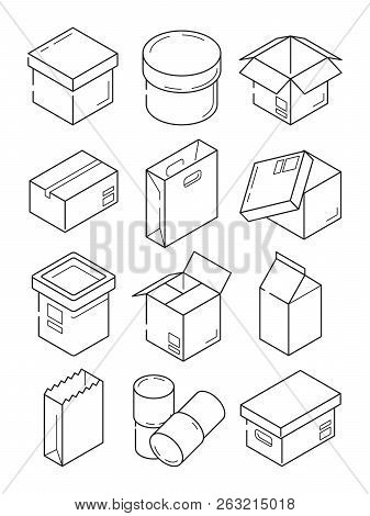 poster of Box Outline Symbols. Paper Wooden Or Carton Export Packages Vector Isometric Line Icons Isolated. Il