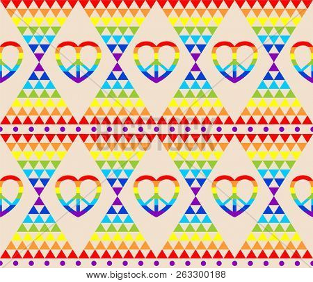 Poster of Vintage hippie wallpaper with rainbow, hippie symbol, psychedelic abstract triangle colorful pattern