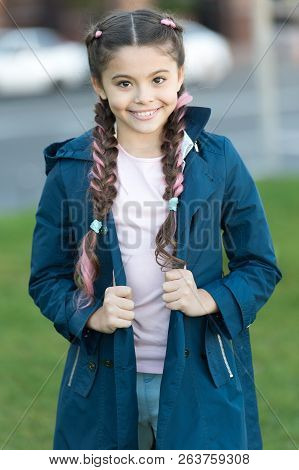 poster of Girl With Braided Hair Style With Pink Kanekalon. Add Bright Detail. Little Girl With Cute Braids We