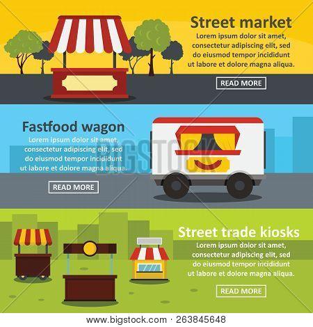 poster of Street Food Banner Horizontal Concept Set. Flat Illustration Of 3 Street Food Trade Banner Horizonta