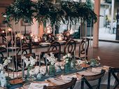 Wedding decoration. Table set at wedding.  poster