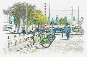 A Watercolor Sketch Or An Illustration. Street Bike Rental In Lisbon In Portugal. The Man Rented A B poster