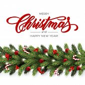 Holidays Background For Merry Christmas Greeting Card With A Realistic Garland Of Pine Tree Branche poster