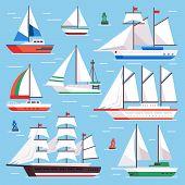 Sail Boat. Transportation Sailboat For Water Sailboat Race. Flat Luxury Sailing Vector Illustration  poster