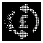 Refresh Pound Price Icon With Fractured Style On Black Background. White Circle Dots Are Combined In poster