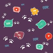 Doodle Cat Paw Seamless Background. Purr. Abstract Cat Paw Vector Seamless Pattern For Card, Invitat poster