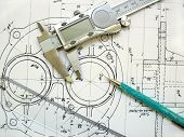 stock photo of mechanical engineer  - engineer tools on a technical drawing - JPG