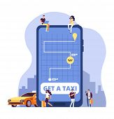 Mobile Taxi. Online Taxi Service And Payment With Smartphone App. People Ordering Taxi At Huge Cell  poster