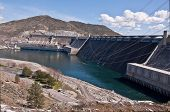 stock photo of hydro-electric  - This is a landscape of Grand Coulee Dam in Washington State one of the largest sources for hydro electric power on the Columbia River - JPG