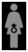 Halftone Dotted Female Sexual Disfunction Icon. White Pictogram With Dotted Geometric Structure On A poster