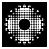 Halftone Pixel Cogwheel Icon. White Pictogram With Pixel Geometric Pattern On A Black Background. Ve poster