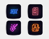 Neon Glow Lights. Set Of Copyright Laptop, Report Document And Electric Guitar Icons. Algorithm Sign poster
