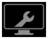 Halftone Pixel Desktop Options Icon. White Pictogram With Pixel Geometric Pattern On A Black Backgro poster