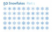 Blue Snowflakes Collection Isolated On White Background. Flat Line Snowing Icons Bundle, Cute Snow F poster