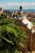 Spice-cake house in Park Guell by Antoni Gaudi, Barcelona, Spain