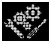 Halftone Pixel Mechanics Tools Icon. White Pictogram With Dot Geometric Pattern On A Black Backgroun poster
